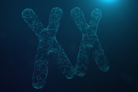 3D Illustration Polygonal Low poly Digital Artificial XX-Chromosomes Consisting Of Consisting Dots And Lines On Blue Background. Genetics Concept, Artificial Intelligence Concept. Binary Code In The Human Genome, Future, Genetic Mutations.