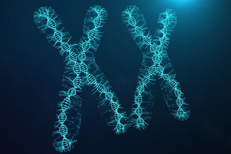Polygonal Low poly 3D Rendering Digital Artificial Chromosomes Consisting Of Consisting Dots And Lines With DNA Carrying The Genetic Code. Genetics Concept, Artificial Intelligence Concept. Binary Code In The Human Genome, Future, Genetic Mutations.