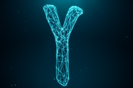 3D Illustration Polygonal Low poly Digital Artificial Y-Chromosomes Consisting Of Consisting Dots And Lines On Blue Background. Genetics Concept, Artificial Intelligence Concept. Binary Code In The Human Genome, Future, Genetic Mutations Banque d'images - 118957614
