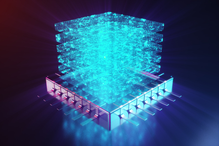 AI - artificial intelligence CPU concept. Hologram above CPU. Machine learning. CPU on the board with glow tracks. Background scientific concept in blue light. 3D illustration