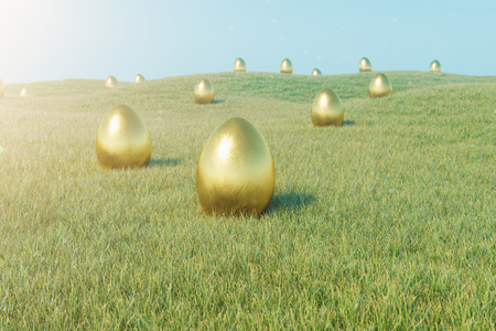 Luxury gold egg on grass. Holiday and easter symbol. Concept spring holidays. Golden eggs on the grass in a beautiful sunny day. 3D illustration Stockfoto - 119610535