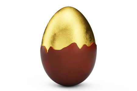 Golden luxury egg covered with chocolate. Easter egg. Broken, cracked chocolate egg. Sweet chocolate egg, holiday and easter symbol, 3D illustration Stock Photo