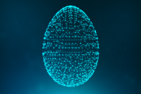 Abstract blue Easter eggs consisting of blue lines and glowing neon dots. Abstract egg triangle shape. Happy Easter Egg. 3D illustration