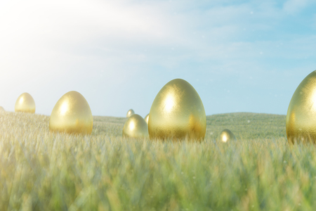 Luxury gold egg on grass. Holiday and easter symbol. Concept spring holidays. Golden eggs on the grass in a beautiful sunny day. 3D illustration