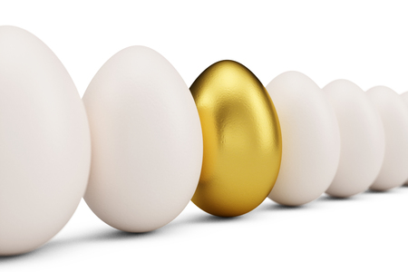 Golden egg around white eggs in row. Golden egg closeup. Golden egg as a sign of wealth, luxury. Egg as a symbol of easter, holiday, weekend, 3D illustration