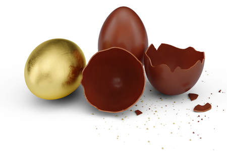 Gold luxury egg and chocolate easter egg. Broken, cracked chocolate egg. Sweet chocolate eggs, holiday and easter symbol. 3D illustration