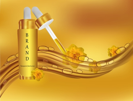 Transparent facial serum,Cosmetic products with oil vitamins.Beautiful cosmetics.Promotional poster. 3D realistics cosmetics. Vector illustration. Essential oil