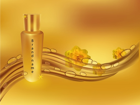 Realistic vector illustration eau de parfum. Banner for sale. Vector illustration. Beautiful advertising Eau de Parfum.