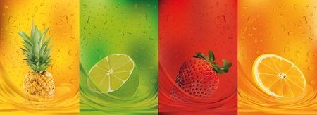 Fruit juice, pineapple, lime, orange, strawberry.3d fresh fruits. Fruit splashes close up. Vector illustration.