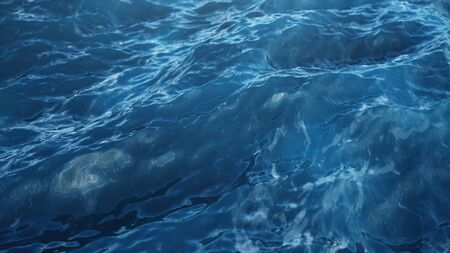 Sea wave low angle view. Ocean water background. Sea or ocean wave close-up view. Beautiful blue clean water. 3D rendering