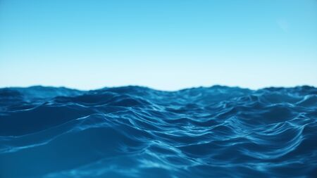 Sea wave low angle view. Ocean water background. View from below, view of a clear blue sky with. Sea or ocean wave close-up view. Beautiful blue clean water. 3D rendering Stock Photo