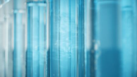 Science laboratory research. Development of medical technology. A breakthrough in biotechnology. Blue liquid inside the test tube as fuel. Biotechnology, glassware flasks. Test tubes, 3D Illustration