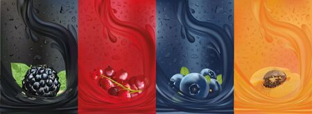 Fruit juice, blackberry, blueberry, apricot, red currant berry. Fresh fruits and green with green leaf. Splashes with fruit. Summer, nature, drink, cocktail. 3D realistic fruit close up. Vector illust