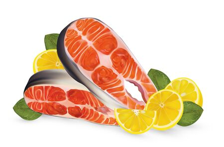 Two fillet salmon with lemon. Fresh steak salmon and lemon on white background. Fillet red fish close up. Beautiful vector illustration.