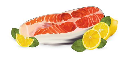 Fillet salmon with lemon and green leaf. Fresh seafood, steak salmon on white background. Slice red fish close up. Beautiful vector illustration.