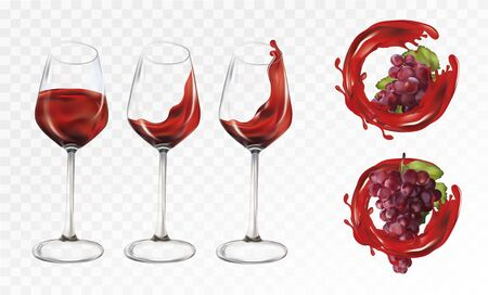 Red wine. 3D realistic grapes and glasses transparent with wine. Splashes red wine. Red grapes on transparent background. Vector illustration