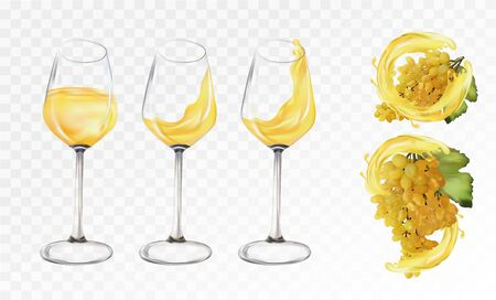White grapes wine in glasses on transparent background. Splashes white wine. 3D Vector illustration.