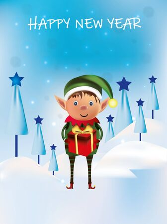Little elf with gift present. Happy new year. Santas helpers. Winter, snow. Beautiful illustratin