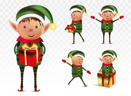 Collection of Christmas elves isolated on transparens background. Little elves. Santa s helpers. Elves with gift presents. Icon set. Beautiful illustration.