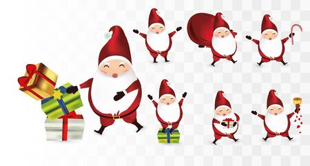 Collection of funny Christmas Santa Clause. Santa with gift presents, poinsettia. Set of cute Santa Clause isolated on transparent background. Icon set. Vector illustration