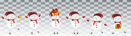Collection of funny Cheerful snowmans. Cute Christmas snowmans isolated on transparent background. Snowman with gift present. Icon set. Vector illustration. 일러스트