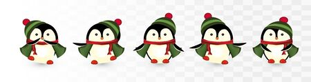 Set of cute christmas penguins. Christmas characters. Christmas helpers. Little beautiful penguins. Penguins with gift presents. Icon set. Vector illustration