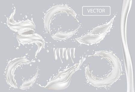 3D realistic splash of milk. Twisted fresh milk with drop on transparent background. Coctail milk. Yogurt, dessert. Set vector illustration.