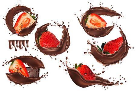 3d realistic chocolate splash with strawberry. Collection strawberries covered in chocolate. Sweet chocolate dessert on white background. Beautiful illustration