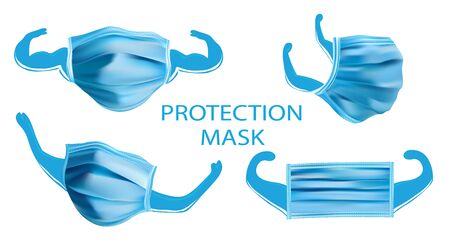 Collection of Protection Medical Mask. 3D realistic mask from different angles isolated on white background. World pandemic.Illustration.