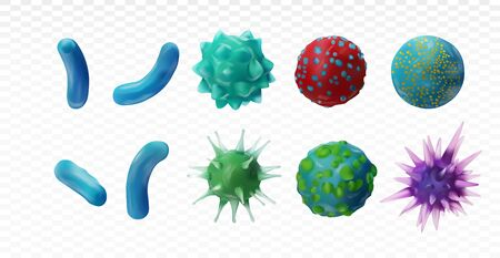 Virus disease. Abstract background virus. Set virus. Virus icon set. Infection flu, pneumonia.Bacteria, microbes fungi. Danger to a living organism.Viruses under the microscope.3D illustration.