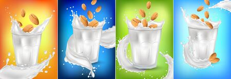 Almond milk in a glass. 3D realistic nuts. Fresh milk splashes. Organic almond milk. Collection Milk label template. Vegetarian. Banner. Illustration.