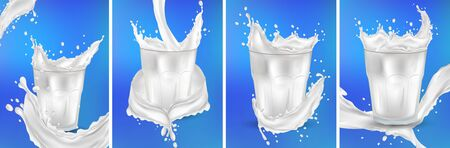Milk in a transparent glass. Splash milk on the blue background. Cocktail milk. Realistic fresh milk splashing. 3D illustration