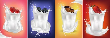 3D realistic splash with fresh fruit. Strawberry, raspberry, plum, blackberry. Fruits cocktail. Milk yogurt and fruit. Splashing milk. Illustration