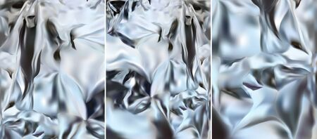 Silver foil. 3d realistic silver texture, shine silver, metal.Three different aluminium silver foil. Set vector illustration.