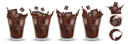 Realistic chocolate splash in the white glass with pieces chocolate. Big collection cocoa or coffee. Splashing dark chocolate. Hot chocolate, drink, cocktail. Icon set.3d illustration.