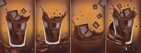 3D realistic chocolate splash in the transparent glass with pieces chocolate. Splashing dark chocolate. Hot chocolate, cocoa, cocktail or coffee drink. Banner. Illustration for design label Stockfoto