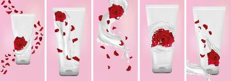 Rose hand cream, milk splash with flower rose. Set design package cream. Flying rose, petals and splashing yogurt. 3D realistic rose. Vector illustration. Stock Illustratie
