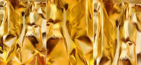 Set gold foil, 3d realistic gold texture, shine gold. Abstract gold background. Vector illustration. Stock Illustratie