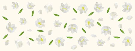 3d realistic Lilly of the valley with green leaf. White lily of the valley in motion. Fragrant flowers. Vector illustration.