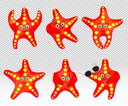 Starfish on transparent background. Starfish with sunglasses. Collection sea star. Cartoon character. 3d vector. Stock Illustratie