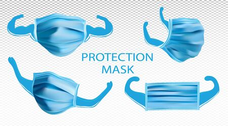 Collection of Protection Medical Mask. 3D realistic mask from different angles isolated on transparent background. World pandemic. Vector illustration.