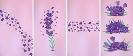 3D realistic flowers lavender with green leaf. Fragrant lavender on violet background. Beautiful lavender closeup. Violet lavender in motion.Top view. Vector illustration Stock Illustratie