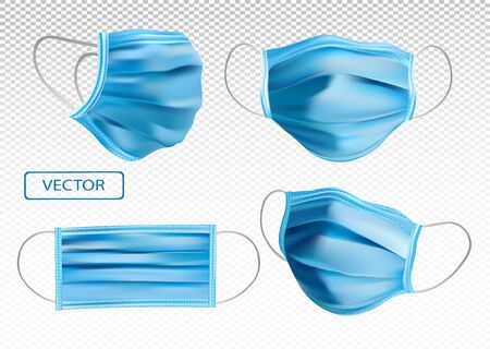 3D realistic protective Medical Mask. Virus protection. Face Medical Mask from different angles. Medical Mask isolated on transparent background. Vector illustration.
