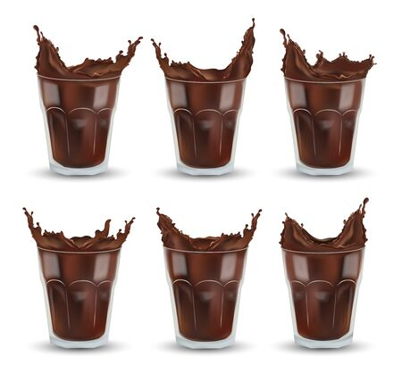 Realistic chocolate splash in the transparent glass. Big collection cocoa or coffee. Chocolate drink, cocktail isolated on white background. Icon set. 3d illustration. Stockfoto