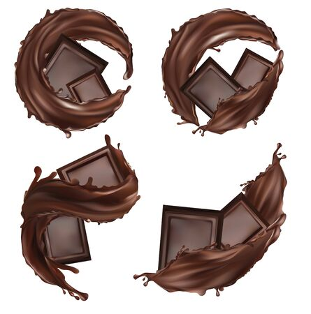 Chocolate bar, cocoa butter, pastry sweets with splashing and whirl chocolate liquid. Pieces of chocolate, which with drops on white background. 3d illustration. Stockfoto
