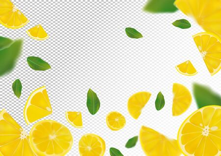 Lemon background. Flying lemon with green leaf on transparent background. 3D realistic fruits. Lemon falling from different angles.Vector illustration