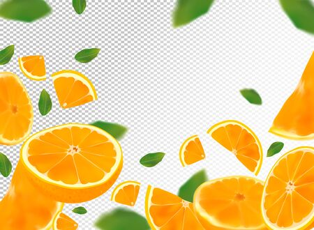 Orange background. Flying orange with green leaf on transparent background. 3D realistic fruits. Orange falling from different angles. Motion orange fruits are whole and cut in half.Vector Stock Illustratie