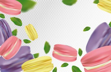 Flying colorful macaroons on transparent background. France macaroons in motion with green leaves. Sweet dessert. 3D realistic vector