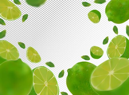 Set of fresh sour lime with green leaves.Falling lime on transparent background. Flying lime fruits are whole and cut in half. Vector illustration Stock Illustratie