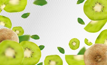 3D realistic kiwi with green leaf. Ripe kiwi fruit in motion. Beautiful kiwi background. Falling kiwi are whole and cut in half. Vector illustration Stock Illustratie